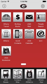 Mobile app homescreen with UGAMail