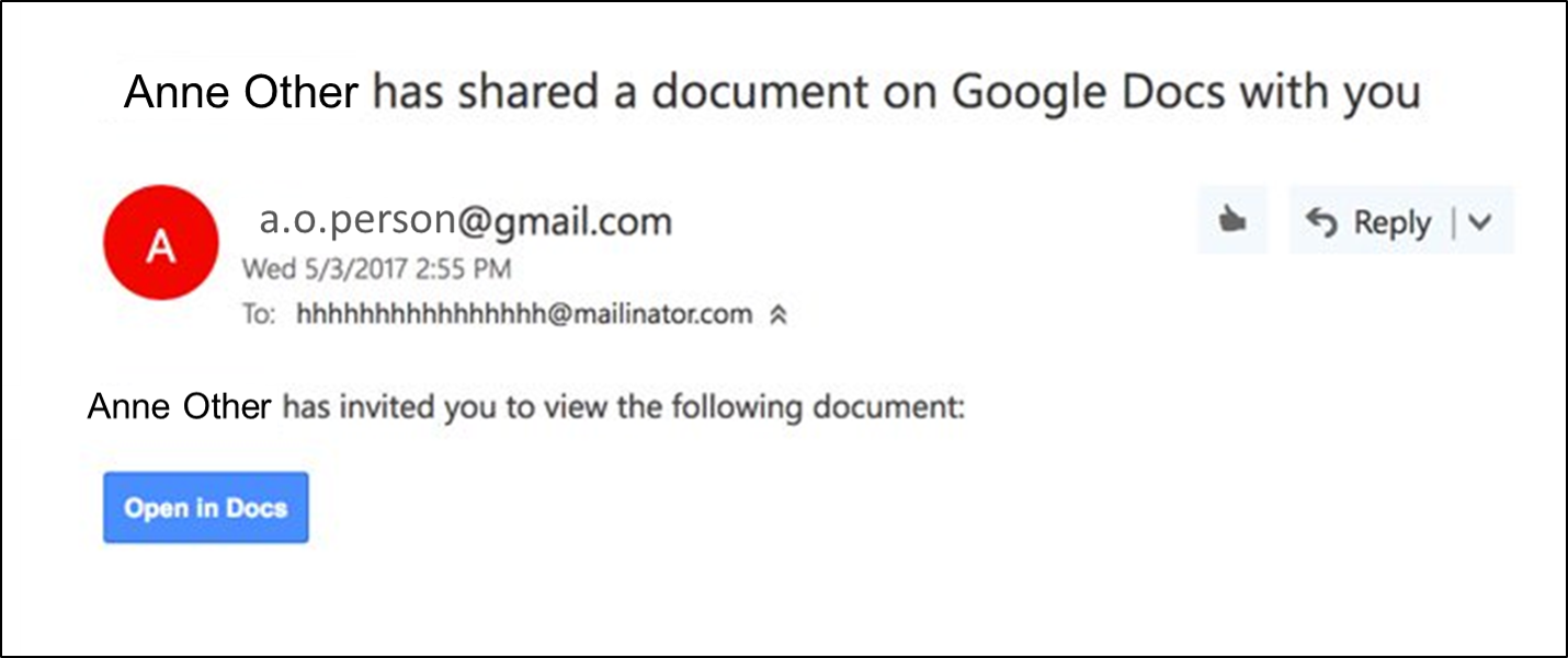 Fake Google Doc notice