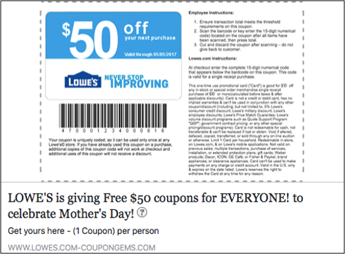 Fake Lowe's coupon