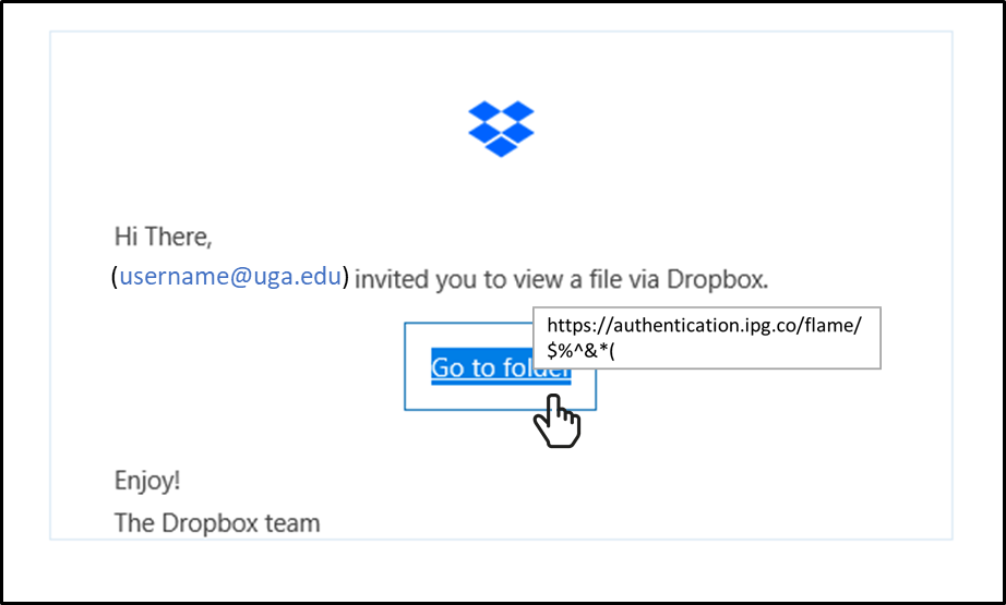 Dropbox phishing message