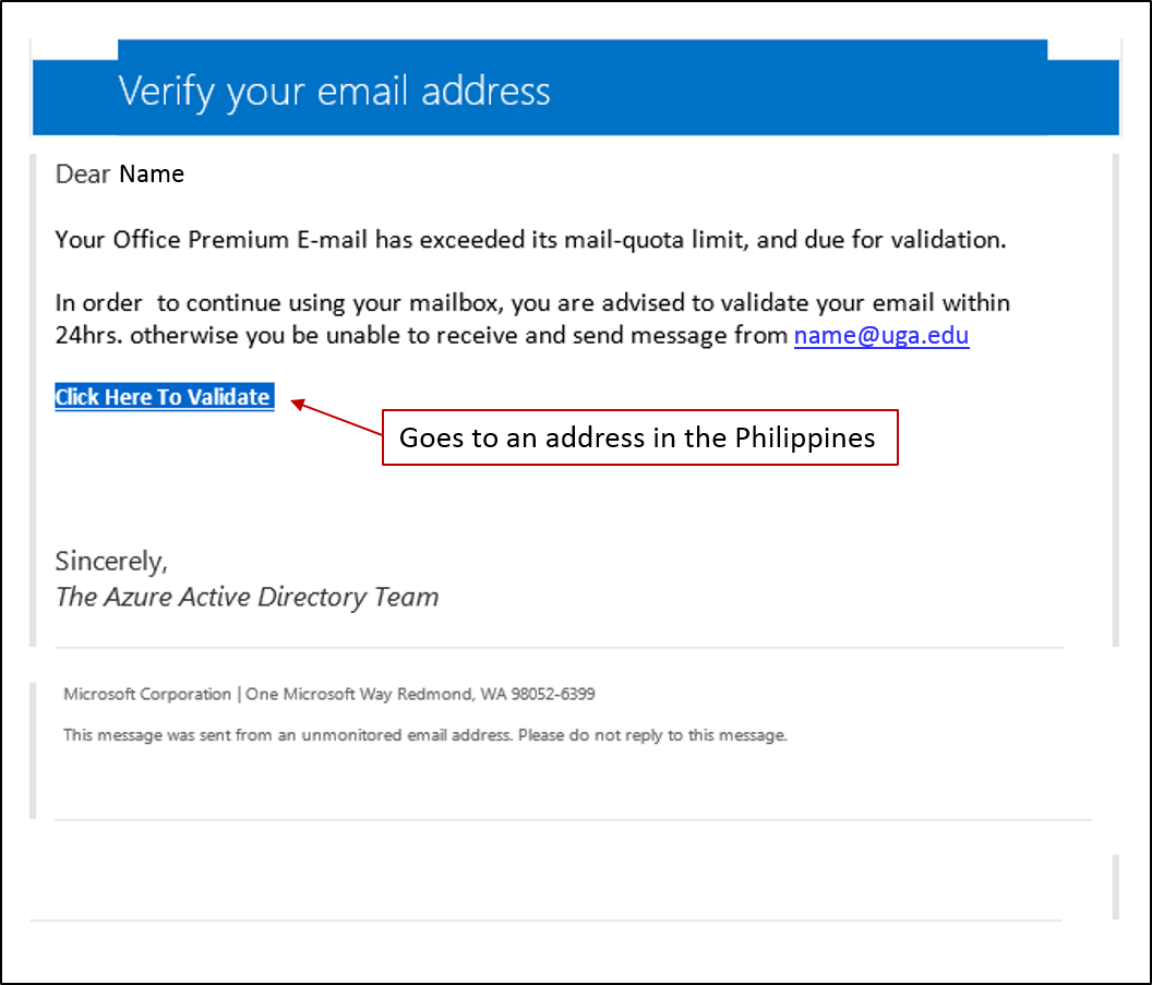 Email verification phish